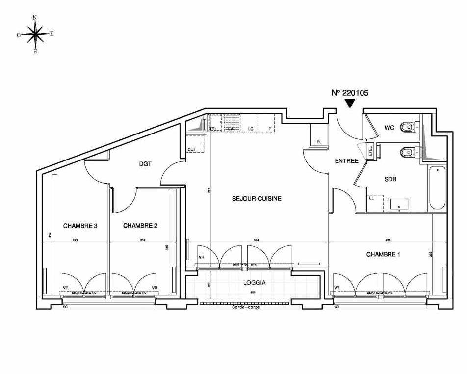 Plan 220105, appartement neuf type T4 au 1er étage, orienté Sud faisant 77m² du programme neuf Cœur de ville {Hall Plaza} - Bobigny à Bobigny.