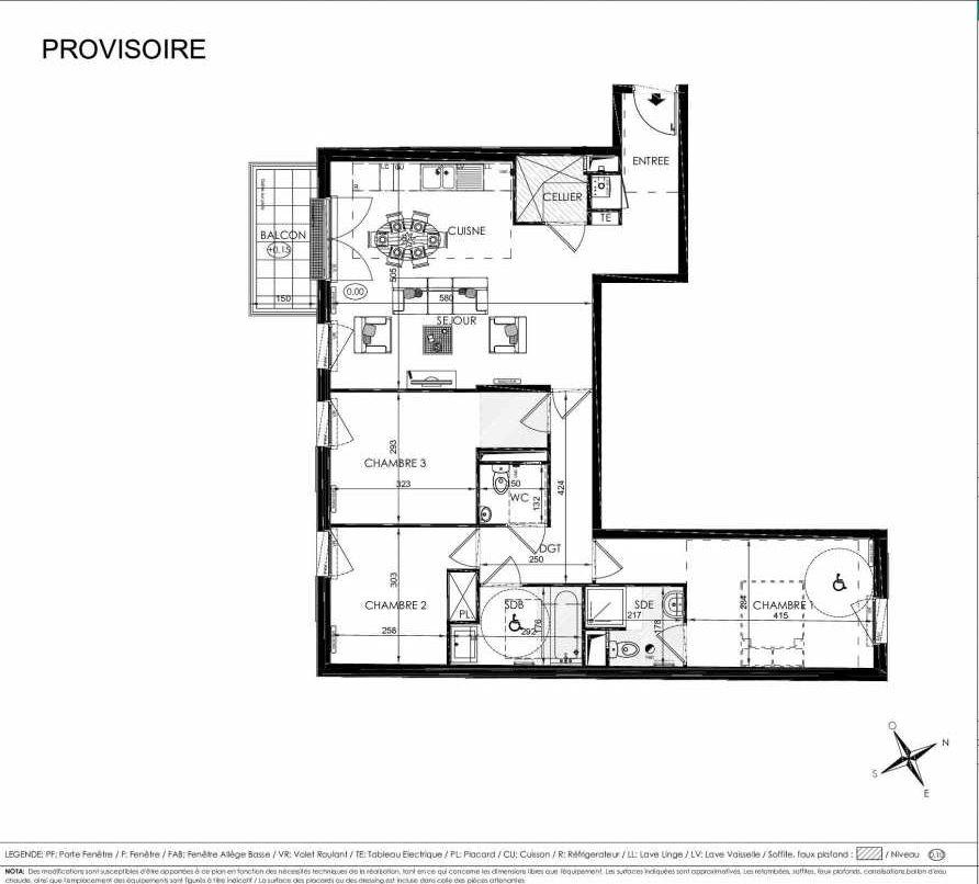 Plan 2202, appartement neuf type T4 au 2ème étage, orienté Sud faisant 85m² du programme neuf L'ALISEE à Les Clayes-sous-Bois.