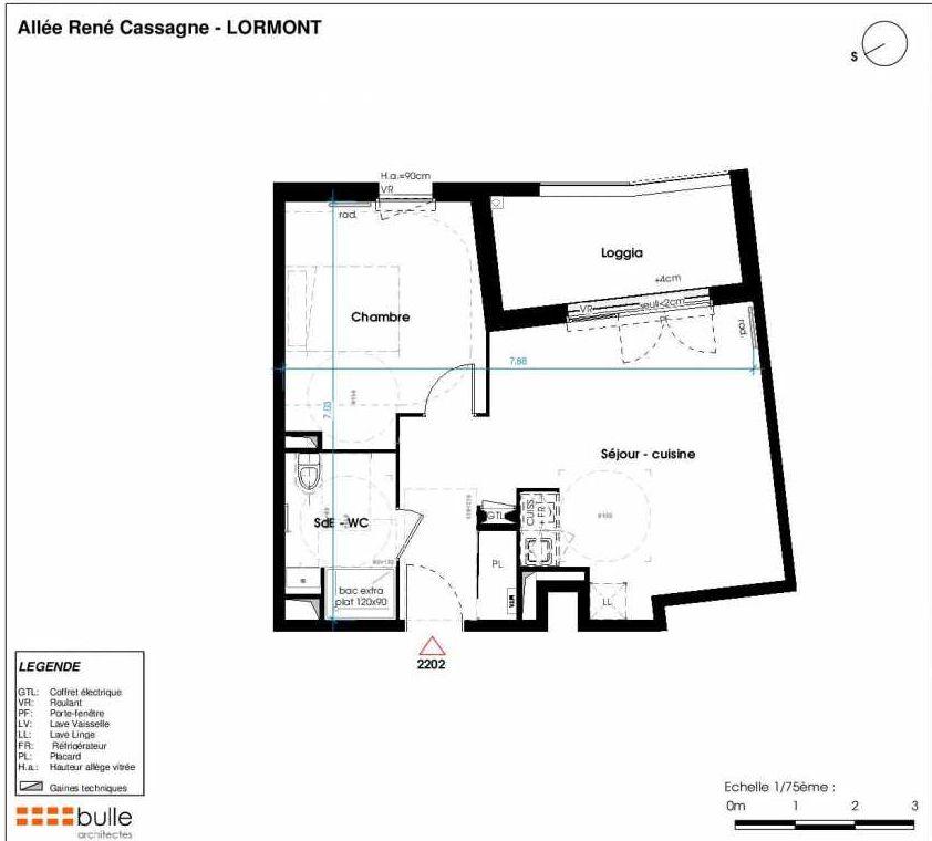 Plan 2202, appartement neuf type T2 au 3ème étage, faisant 45m² du programme neuf LES JARDINS D'ANAIS à Lormont.
