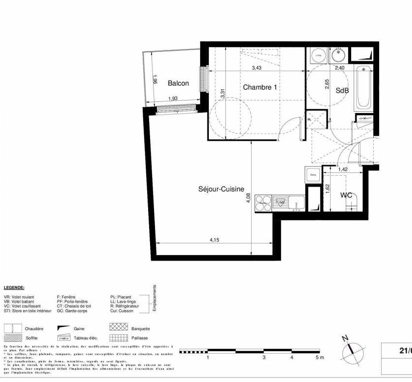 Plan 2202, appartement neuf type T2 au 2ème étage, orienté Nord faisant 46m² du programme neuf LES JARDINS D'ARGELIES BÂTIMENT 1 ET 2 à Juvisy-sur-Orge.