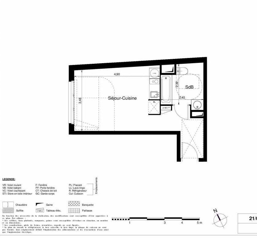Plan 2203, appartement neuf type T1 au 2ème étage, orienté Ouest faisant 28m² du programme neuf LES JARDINS D'ARGELIES BÂTIMENT 1 ET 2 à Juvisy-sur-Orge.