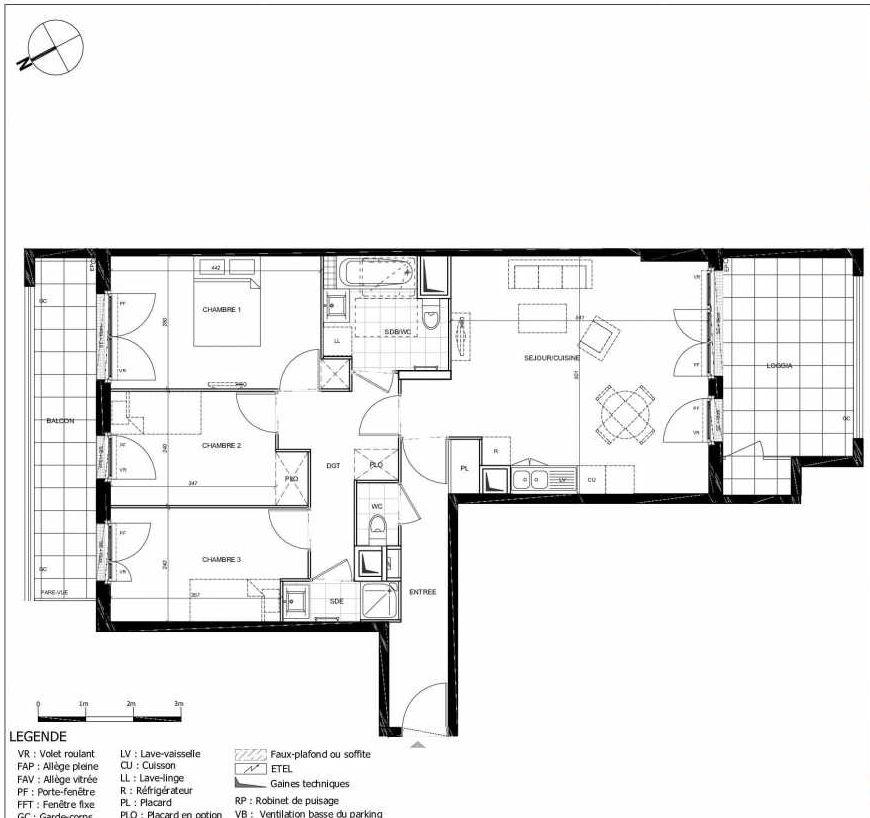 Plan 2204, appartement neuf type T4 au 2ème étage, orienté Sud faisant 81m² du programme neuf 11ÈME AVENUE ACCESSION à Eaubonne.