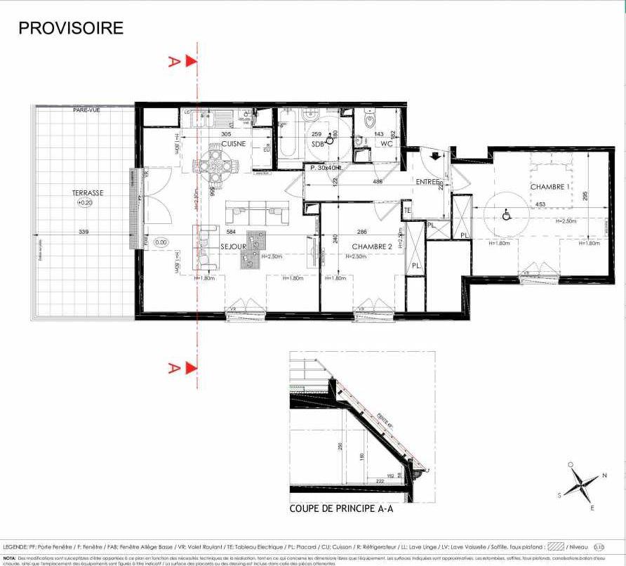 Plan 2204, appartement neuf type T3 au 2ème étage, orienté Sud faisant 67m² du programme neuf L'ALISEE à Les Clayes-sous-Bois.