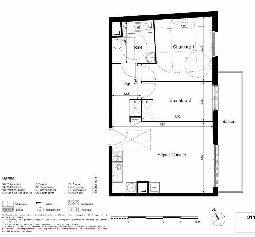 Plan 2204, appartement neuf type T3 au 2ème étage, orienté Est faisant 56m² du programme neuf LES JARDINS D'ARGELIES BÂTIMENT 1 ET 2 à Juvisy-sur-Orge.