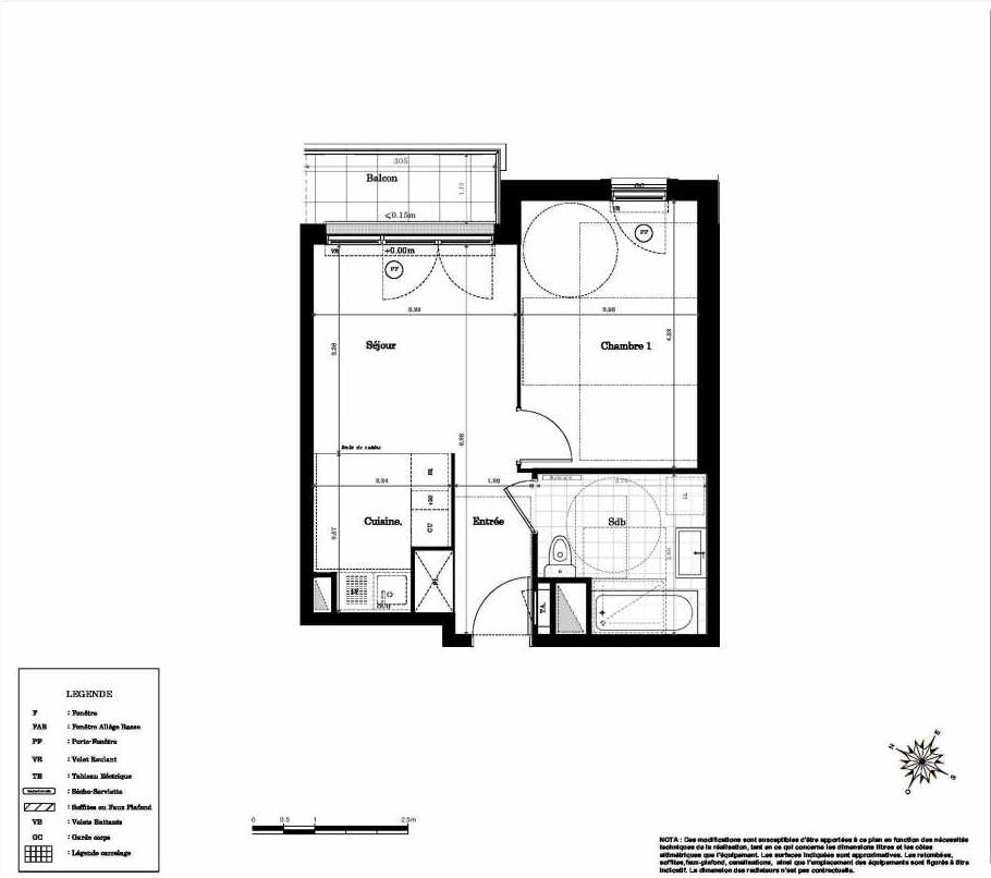 Plan 2204, appartement neuf type T2 au 2ème étage, orienté Nord faisant 39m² du programme neuf Magnifi'sens à Sainte-Geneviève-des-Bois.