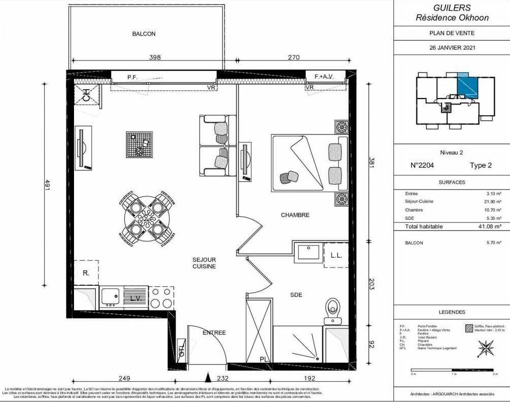 Plan 2204, appartement neuf type T2 au 2ème étage, orienté Nord faisant 41m² du programme neuf OKHOON COLLECTIF LIBRE - BAT B OUEST à Guilers.
