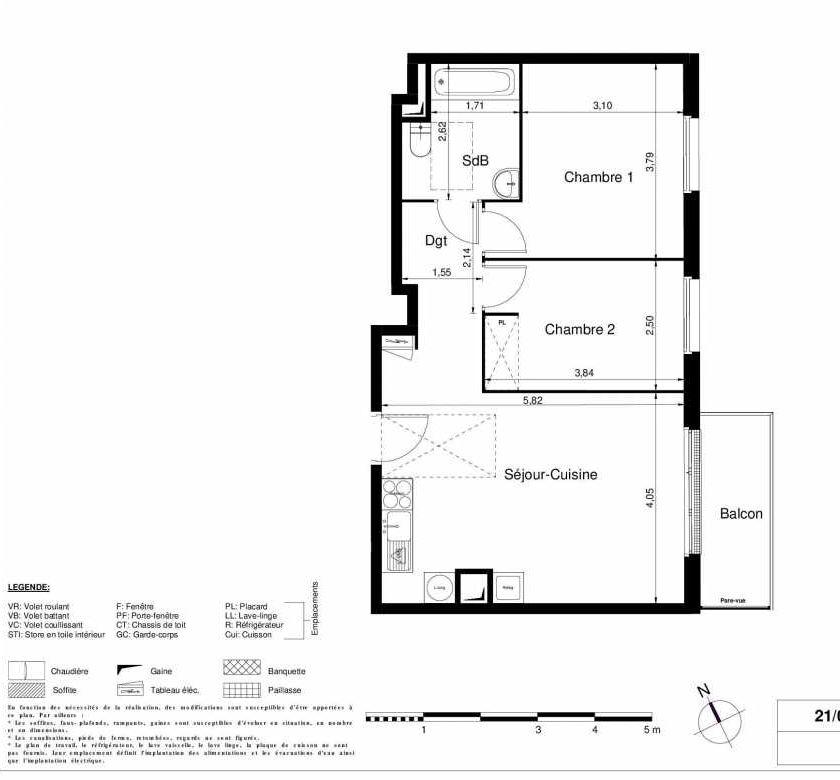 Plan 2205, appartement neuf type T3 au 2ème étage, orienté Est faisant 56m² du programme neuf LES JARDINS D'ARGELIES BÂTIMENT 1 ET 2 à Juvisy-sur-Orge.