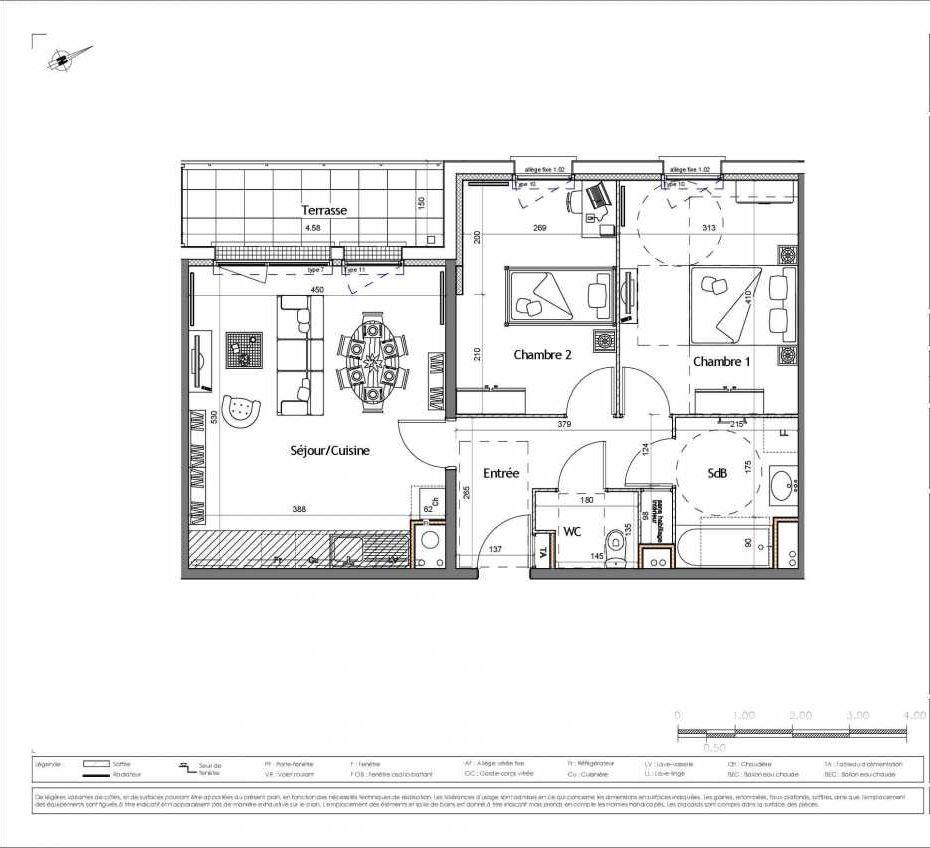 Plan 2205, appartement neuf type T3 au 2ème étage, orienté Ouest faisant 62m² du programme neuf OXYGEN BÂTIMENT B - 27 LOTS à Colombelles.