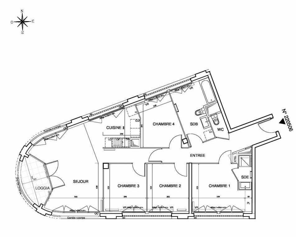 Plan 220506, appartement neuf type T5 au 5ème étage, orienté Sud faisant 94m² du programme neuf Cœur de ville {Hall Plaza} - Bobigny à Bobigny.