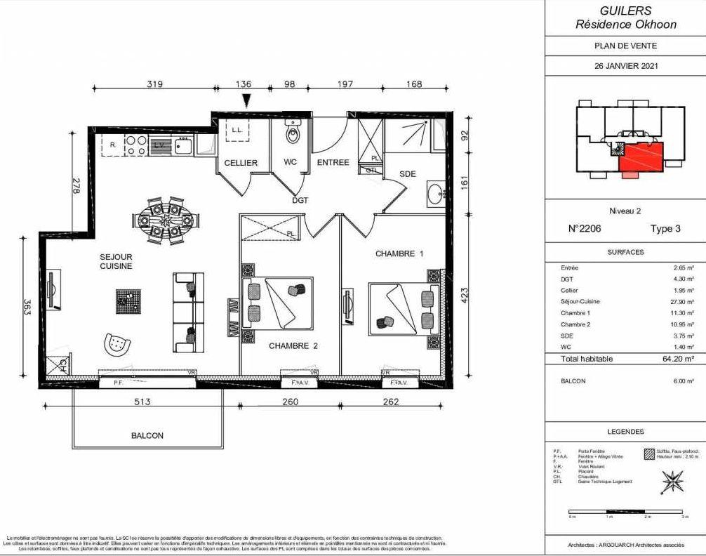 Plan 2206, appartement neuf type T3 au 2ème étage, orienté Sud faisant 64m² du programme neuf OKHOON COLLECTIF LIBRE - BAT B OUEST à Guilers.