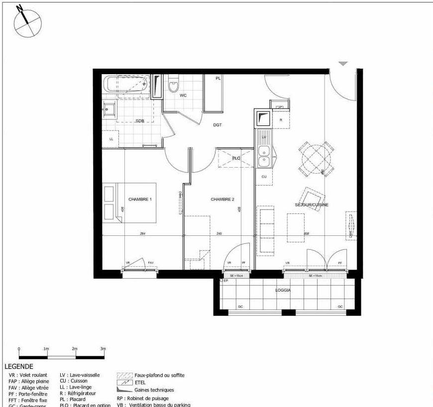 Plan 2207, appartement neuf type T3 au 2ème étage, orienté Sud faisant 60m² du programme neuf 11ÈME AVENUE ACCESSION à Eaubonne.
