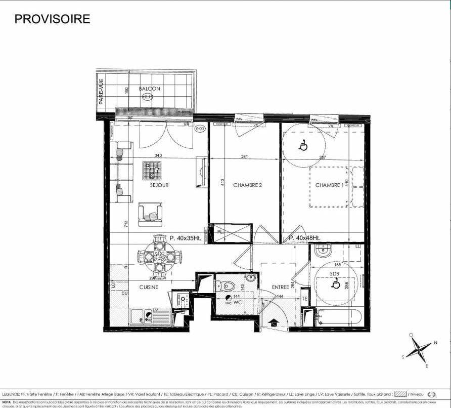 Plan 2207, appartement neuf type T3 au 2ème étage, orienté Ouest faisant 58m² du programme neuf L'ALISEE à Les Clayes-sous-Bois.