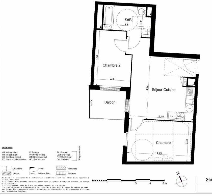 Plan 2207, appartement neuf type T3 au 2ème étage, orienté Ouest faisant 49m² du programme neuf LES JARDINS D'ARGELIES BÂTIMENT 1 ET 2 à Juvisy-sur-Orge.