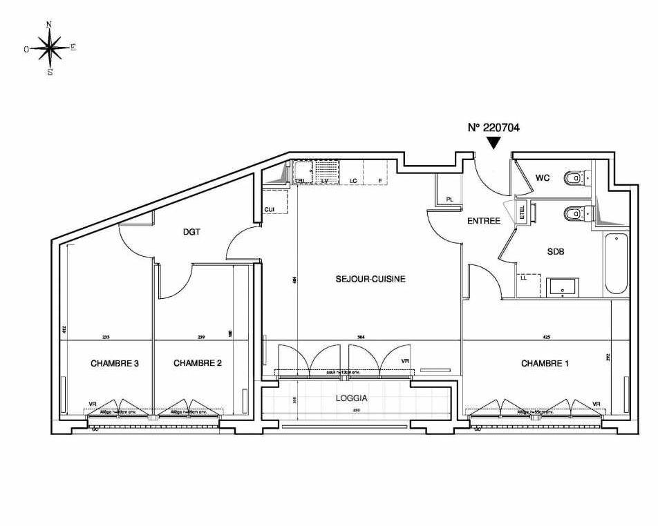 Plan 220704, appartement neuf type T4 au 7ème étage, orienté Sud faisant 77m² du programme neuf Cœur de ville {Hall Plaza} - Bobigny à Bobigny.