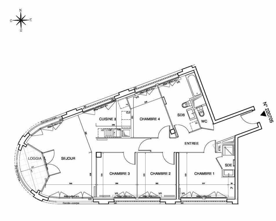 Plan 220705, appartement neuf type T5 au 7ème étage, orienté Sud faisant 94m² du programme neuf Cœur de ville {Hall Plaza} - Bobigny à Bobigny.