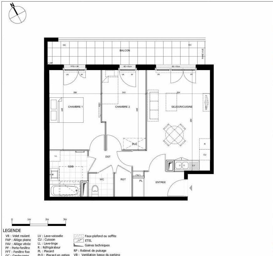 Plan 2208, appartement neuf type T3 au 2ème étage, orienté Est faisant 59m² du programme neuf 11ÈME AVENUE ACCESSION à Eaubonne.
