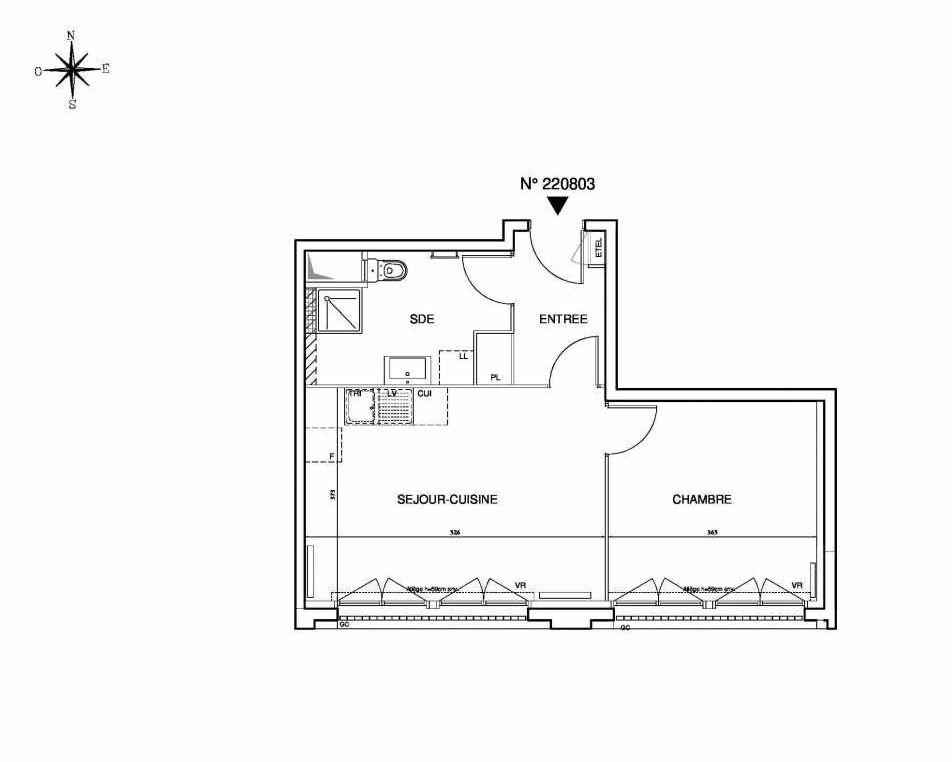 Plan 220803, appartement neuf type T2 au 8ème étage, orienté Sud faisant 44m² du programme neuf Cœur de ville {Hall Plaza} - Bobigny à Bobigny.