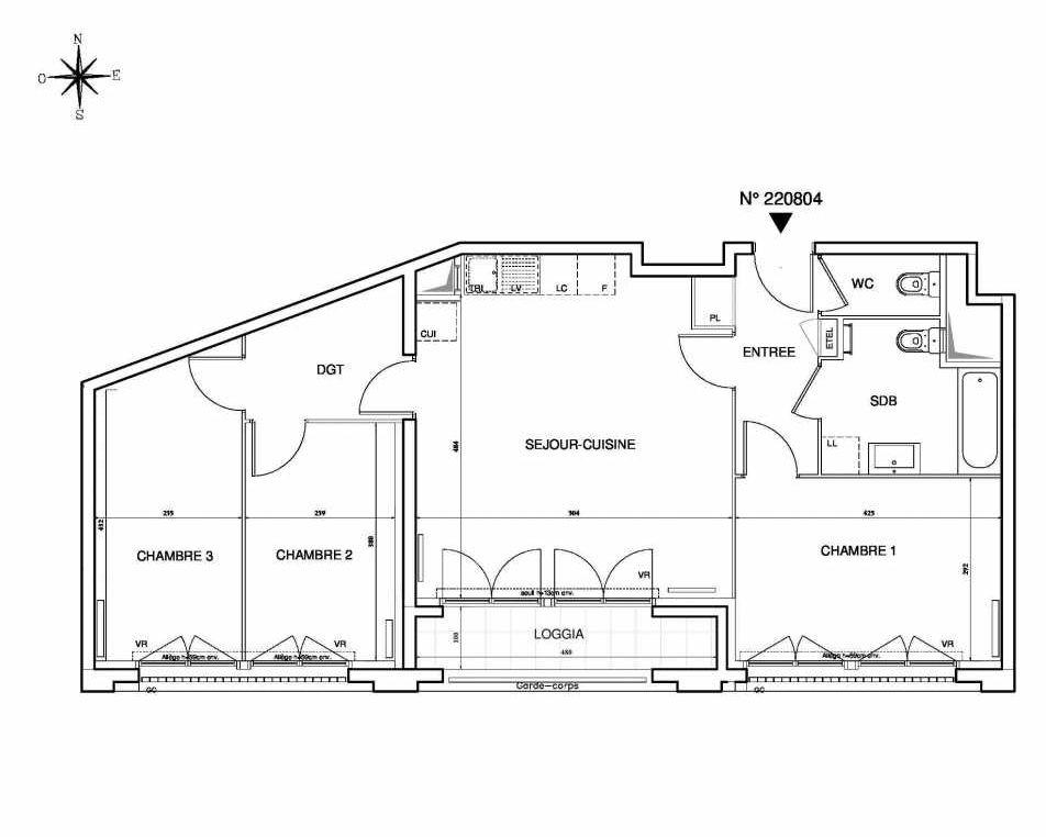Plan 220804, appartement neuf type T4 au 8ème étage, orienté Sud faisant 77m² du programme neuf Cœur de ville {Hall Plaza} - Bobigny à Bobigny.