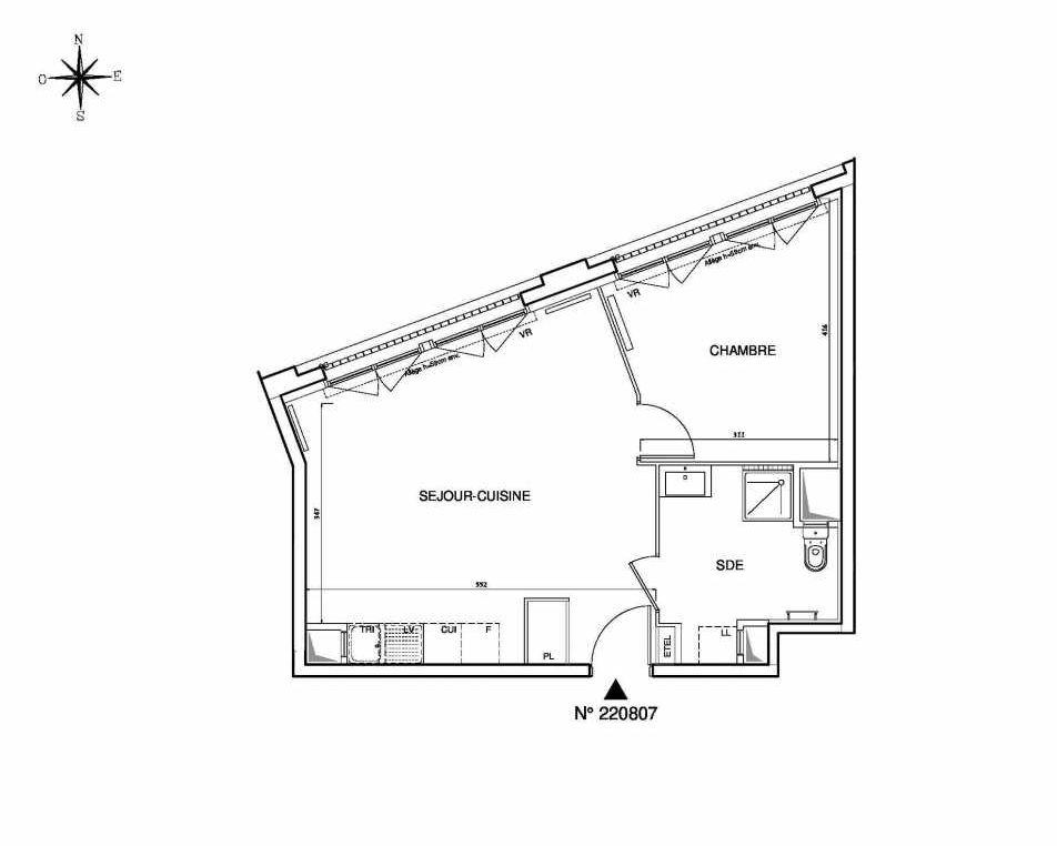 Plan 220807, appartement neuf type T2 au 8ème étage, orienté Ouest faisant 46m² du programme neuf Cœur de ville {Hall Plaza} - Bobigny à Bobigny.
