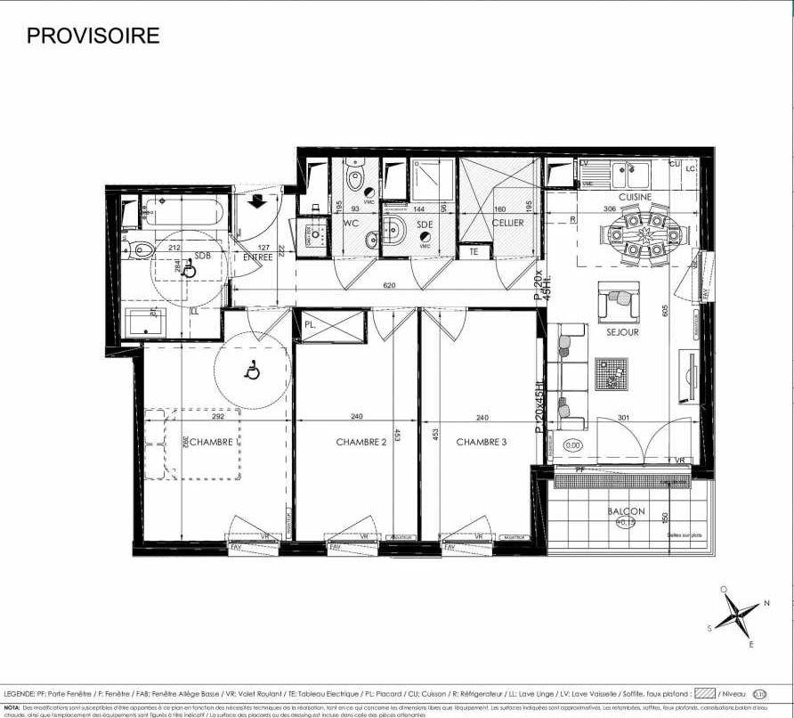Plan 2209, appartement neuf type T4 au 2ème étage, orienté Est faisant 72m² du programme neuf L'ALISEE à Les Clayes-sous-Bois.