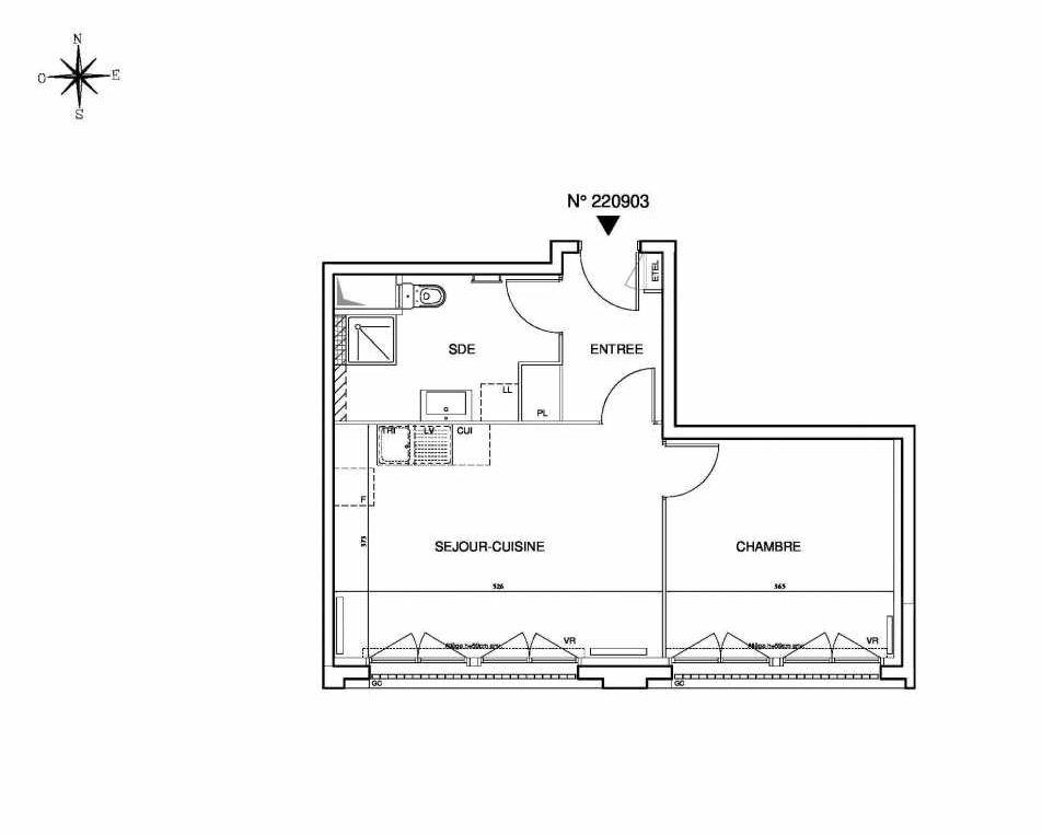 Plan 220903, appartement neuf type T2 au 9ème étage, orienté Sud faisant 44m² du programme neuf Cœur de ville {Hall Plaza} - Bobigny à Bobigny.