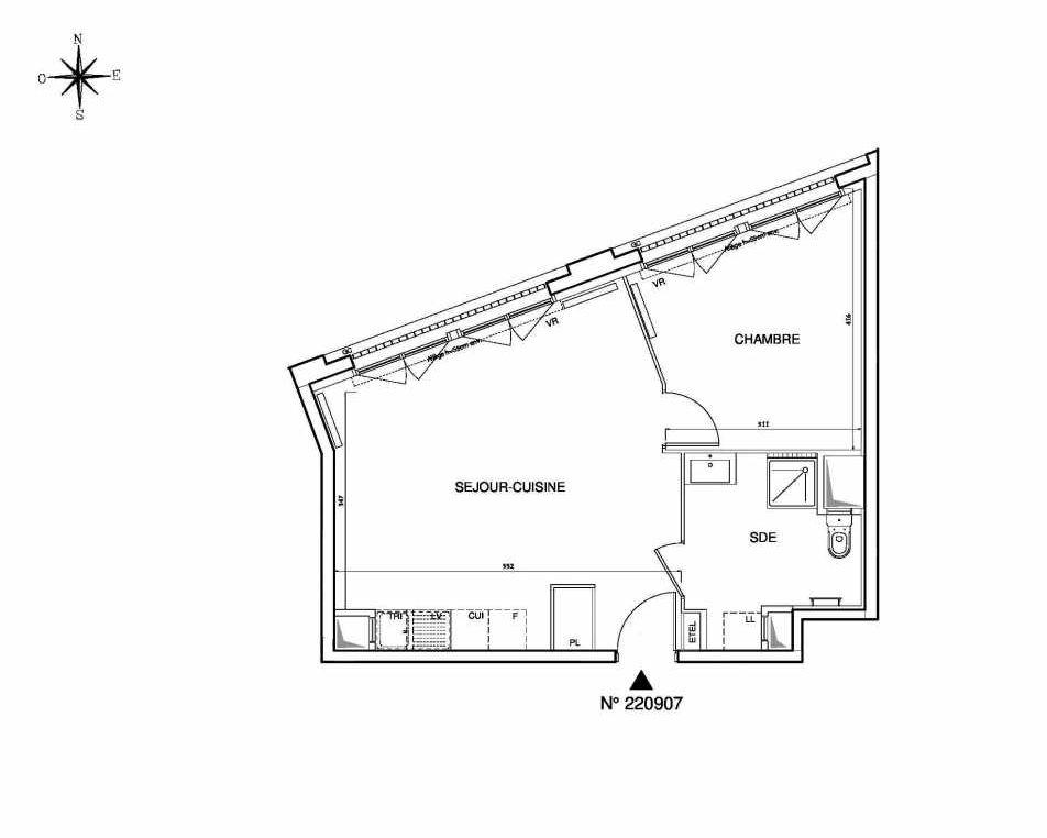 Plan 220907, appartement neuf type T2 au 9ème étage, orienté Ouest faisant 46m² du programme neuf Cœur de ville {Hall Plaza} - Bobigny à Bobigny.
