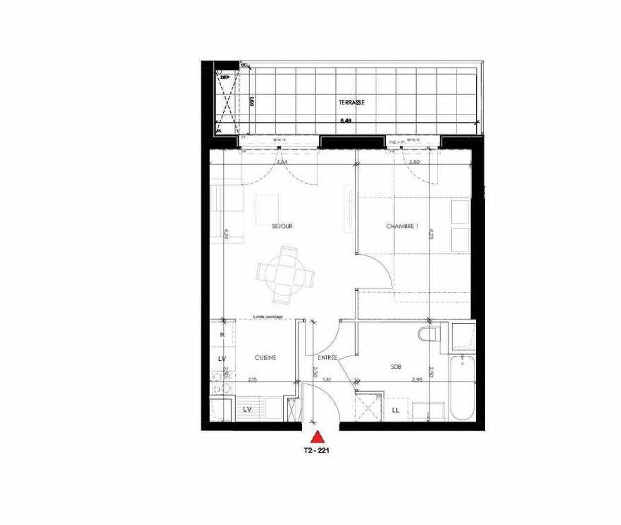 Plan 221, appartement neuf type T2 au 2ème étage, orienté Nord faisant 42m² du programme neuf 2 PRIEURE BATIMENT 2 à Saint-Germain-en-Laye.