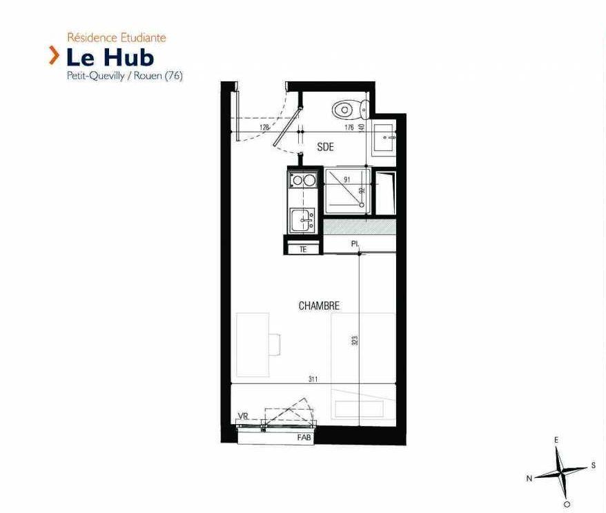 Plan 221, appartement neuf type T1 au 2ème étage, faisant 18m² du programme neuf Le Hub à Le Petit-Quevilly.