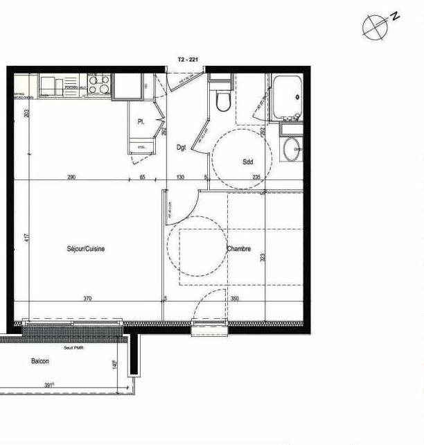 Plan 221, appartement neuf type T2 au 2ème étage, faisant 43m² du programme neuf Les Boréales à Rouen.