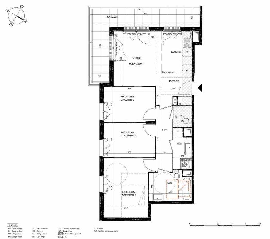 Plan 221, appartement neuf type T4 au 2ème étage, orienté Sud faisant 75m² du programme neuf LES JARDINS BALZAC BAT 3 à Argenteuil.