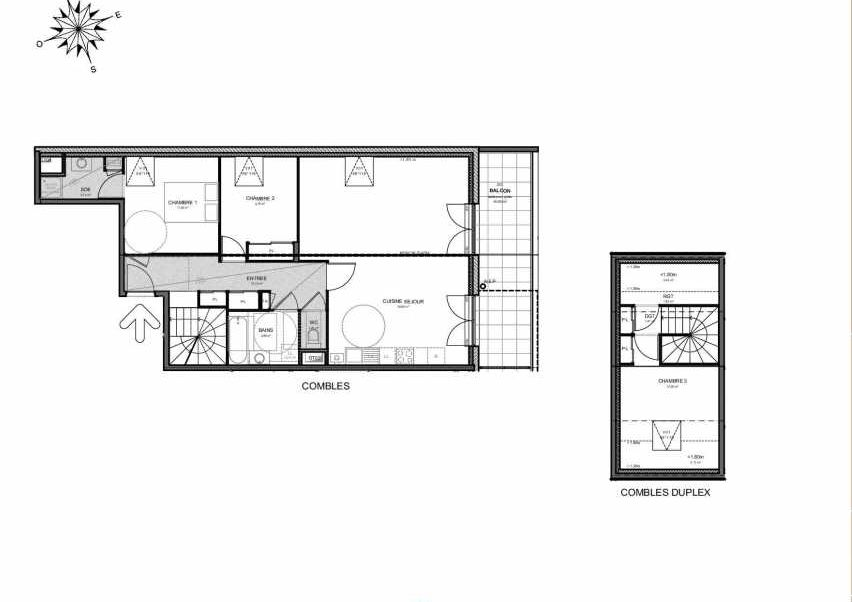 Plan 221, appartement neuf type T4 au 2ème étage, orienté Est faisant 96m² du programme neuf Villas Aravis à Saint-Pierre-en-Faucigny.