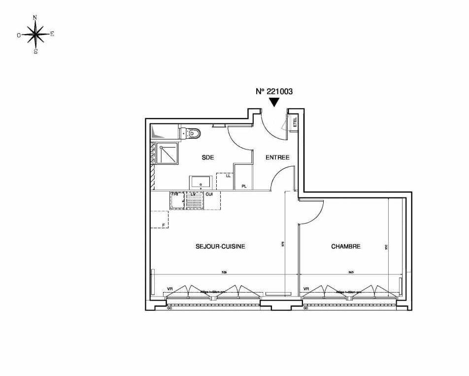 Plan 221003, appartement neuf type T2 au 10ème étage, orienté Sud faisant 44m² du programme neuf Cœur de ville {Hall Plaza} - Bobigny à Bobigny.