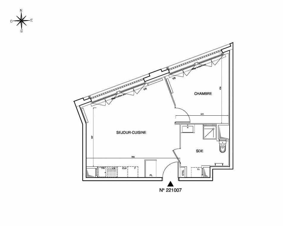 Plan 221007, appartement neuf type T2 au 10ème étage, orienté Ouest faisant 46m² du programme neuf Cœur de ville {Hall Plaza} - Bobigny à Bobigny.