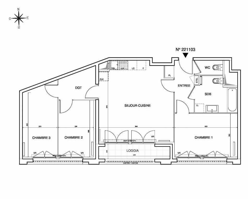 Plan 221103, appartement neuf type T4 au Rez de chaussée, orienté Sud faisant 77m² du programme neuf Cœur de ville {Hall Plaza} - Bobigny à Bobigny.
