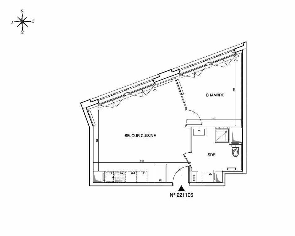 Plan 221106, appartement neuf type T2 au Rez de chaussée, orienté Ouest faisant 46m² du programme neuf Cœur de ville {Hall Plaza} - Bobigny à Bobigny.