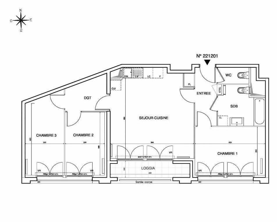 Plan 221201, appartement neuf type T4 au Rez de chaussée, orienté Sud faisant 77m² du programme neuf Cœur de ville {Hall Plaza} - Bobigny à Bobigny.