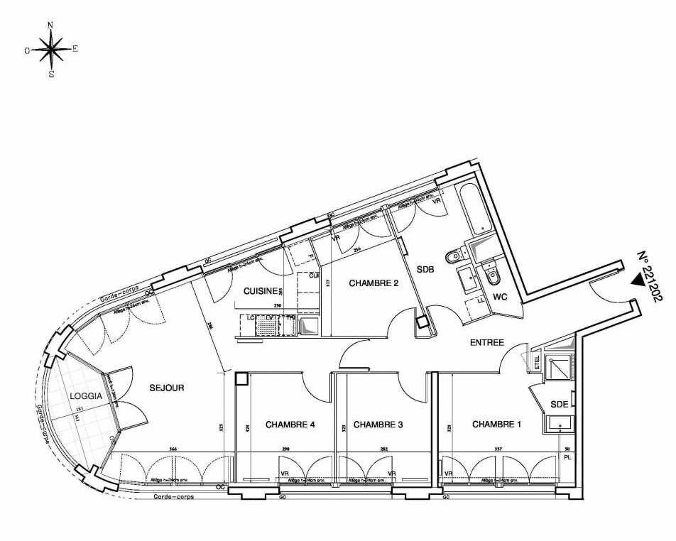 Plan 221202, appartement neuf type T5 au Rez de chaussée, orienté Sud faisant 94m² du programme neuf Cœur de ville {Hall Plaza} - Bobigny à Bobigny.