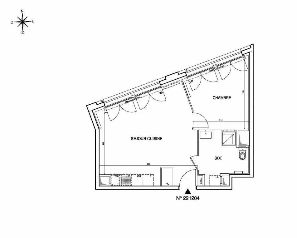 Plan 221204, appartement neuf type T2 au Rez de chaussée, orienté Ouest faisant 46m² du programme neuf Cœur de ville {Hall Plaza} - Bobigny à Bobigny.