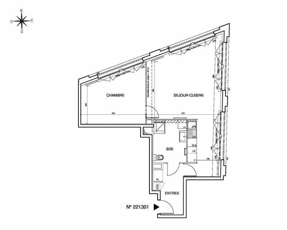 Plan 221301, appartement neuf type T2 au Rez de chaussée, orienté Est faisant 64m² du programme neuf Cœur de ville {Hall Plaza} - Bobigny à Bobigny.
