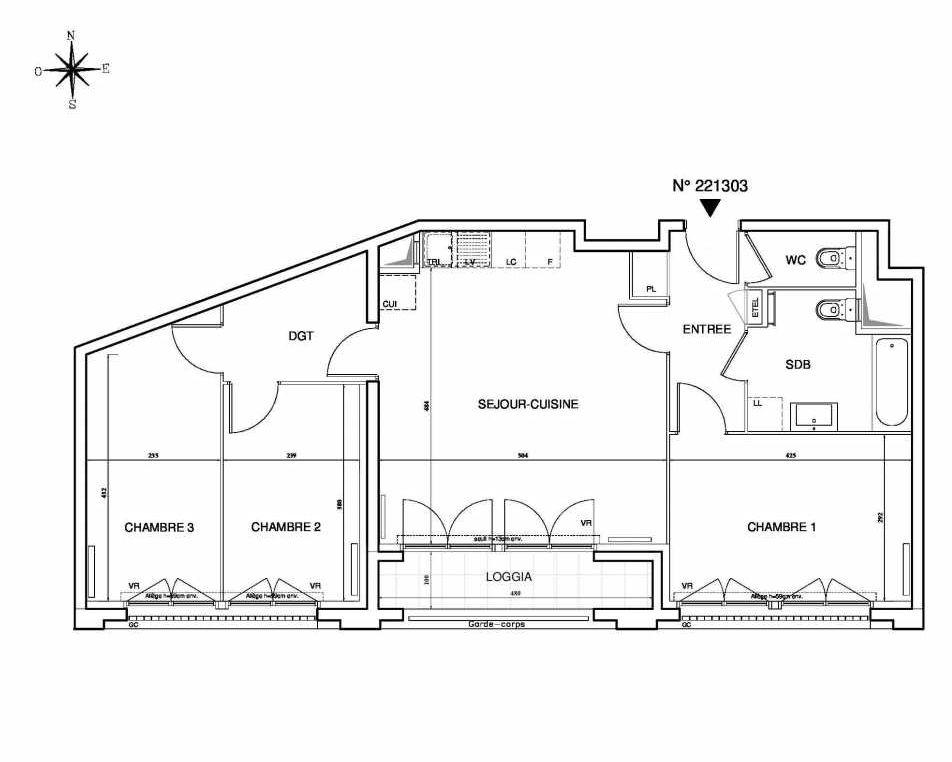 Plan 221303, appartement neuf type T4 au Rez de chaussée, orienté Sud faisant 77m² du programme neuf Cœur de ville {Hall Plaza} - Bobigny à Bobigny.