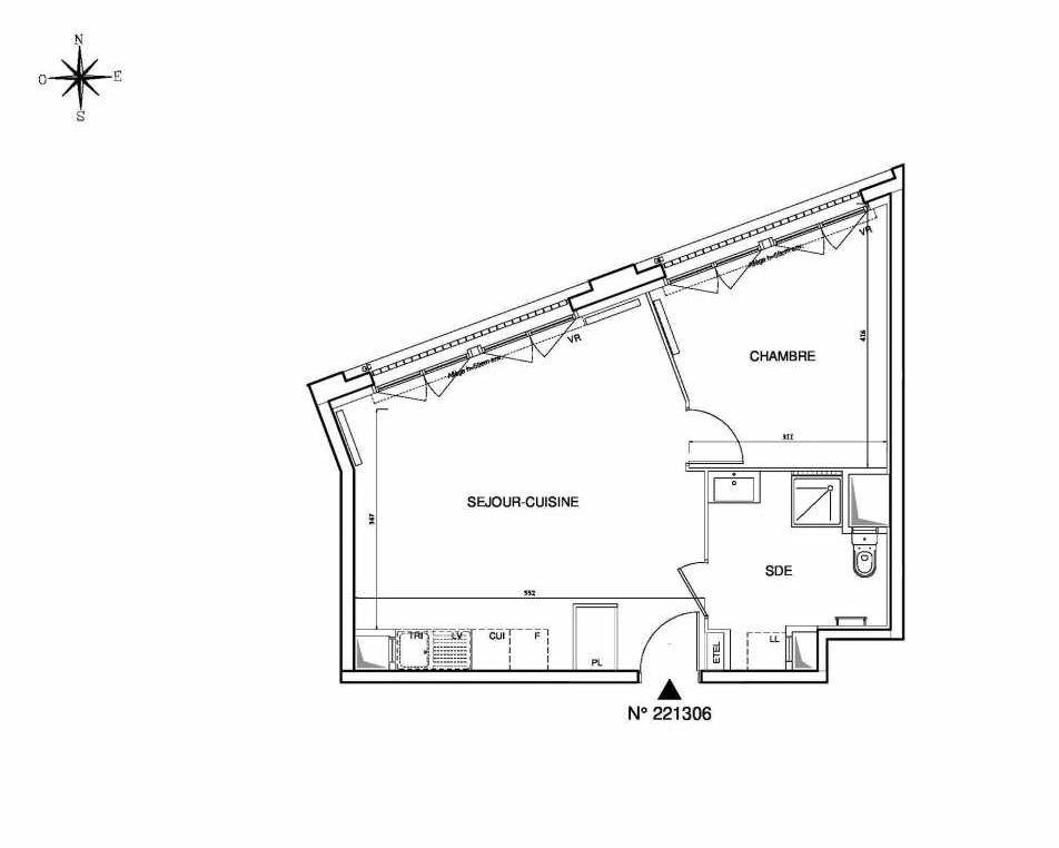 Plan 221306, appartement neuf type T2 au Rez de chaussée, orienté Ouest faisant 46m² du programme neuf Cœur de ville {Hall Plaza} - Bobigny à Bobigny.