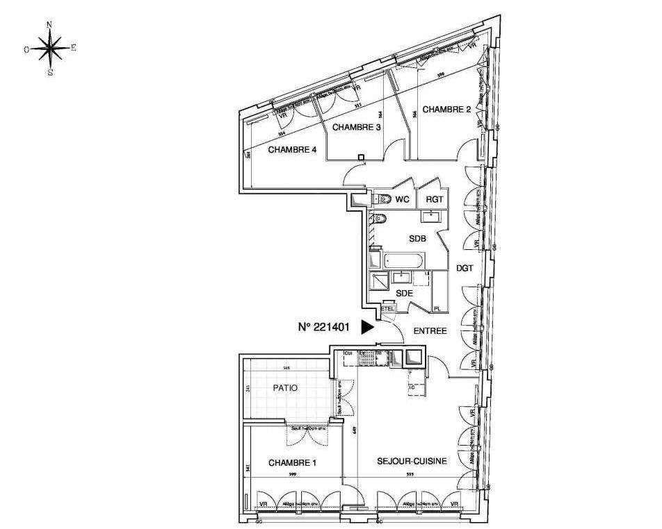 Plan 221401, appartement neuf type T5 au Rez de chaussée, orienté Sud faisant 118m² du programme neuf Cœur de ville {Hall Plaza} - Bobigny à Bobigny.