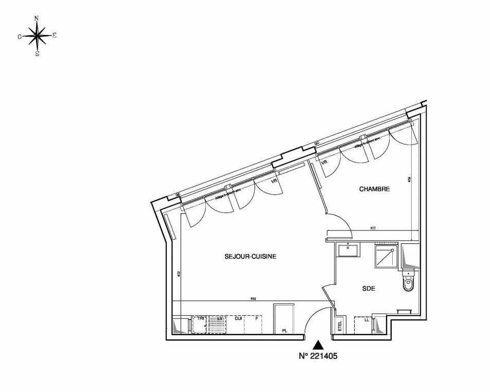 Plan 221405, appartement neuf type T2 au Rez de chaussée, orienté Ouest faisant 46m² du programme neuf Cœur de ville {Hall Plaza} - Bobigny à Bobigny.