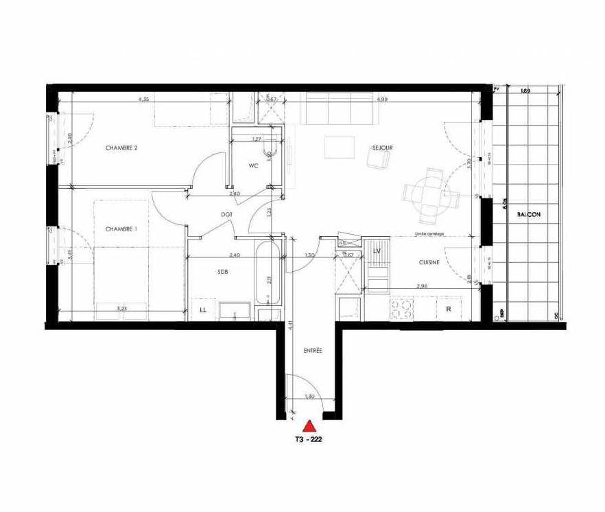 Plan 222, appartement neuf type T3 au 2ème étage, orienté Sud faisant 63m² du programme neuf 2 PRIEURE BATIMENT 2 à Saint-Germain-en-Laye.