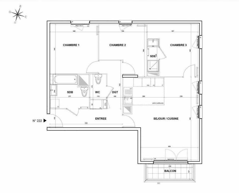 Plan 222, appartement neuf type T4 au 2ème étage, orienté Sud faisant 81m² du programme neuf L'Intemporel à Thiais.