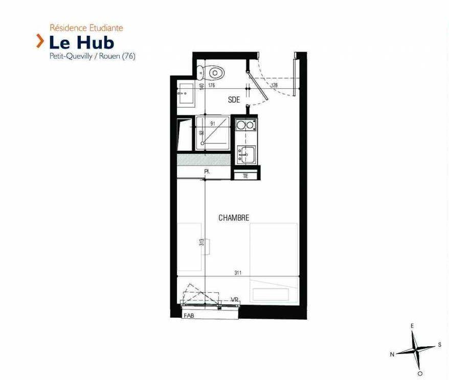 Plan 222, appartement neuf type T1 au 2ème étage, faisant 18m² du programme neuf Le Hub à Le Petit-Quevilly.