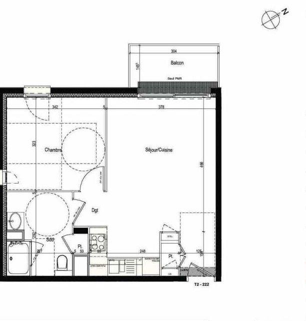 Plan 222, appartement neuf type T2 au 2ème étage, faisant 43m² du programme neuf Les Boréales à Rouen.