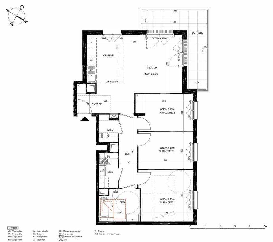 Plan 222, appartement neuf type T4 au 2ème étage, orienté Nord faisant 78m² du programme neuf LES JARDINS BALZAC BAT 3 à Argenteuil.