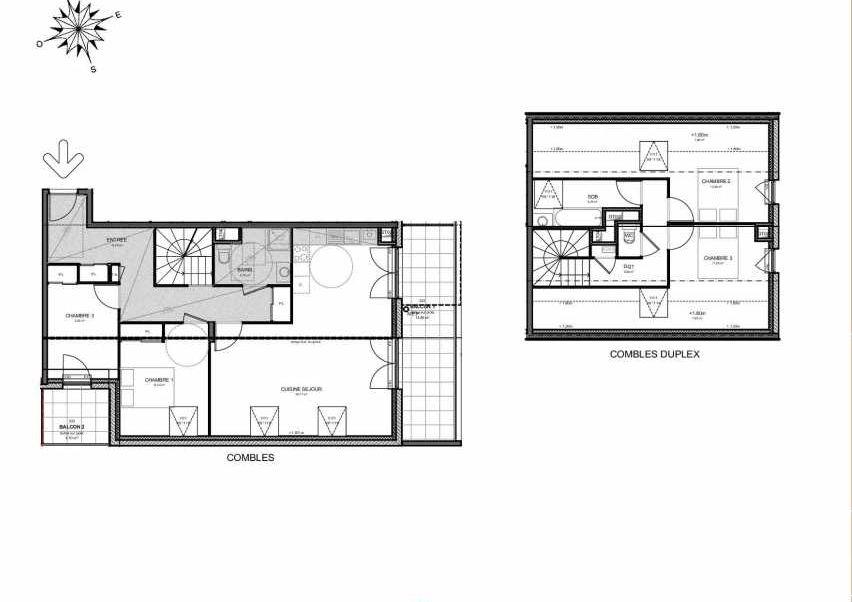 Plan 222, appartement neuf type T5 au 2ème étage, orienté Sud faisant 116m² du programme neuf Villas Aravis à Saint-Pierre-en-Faucigny.