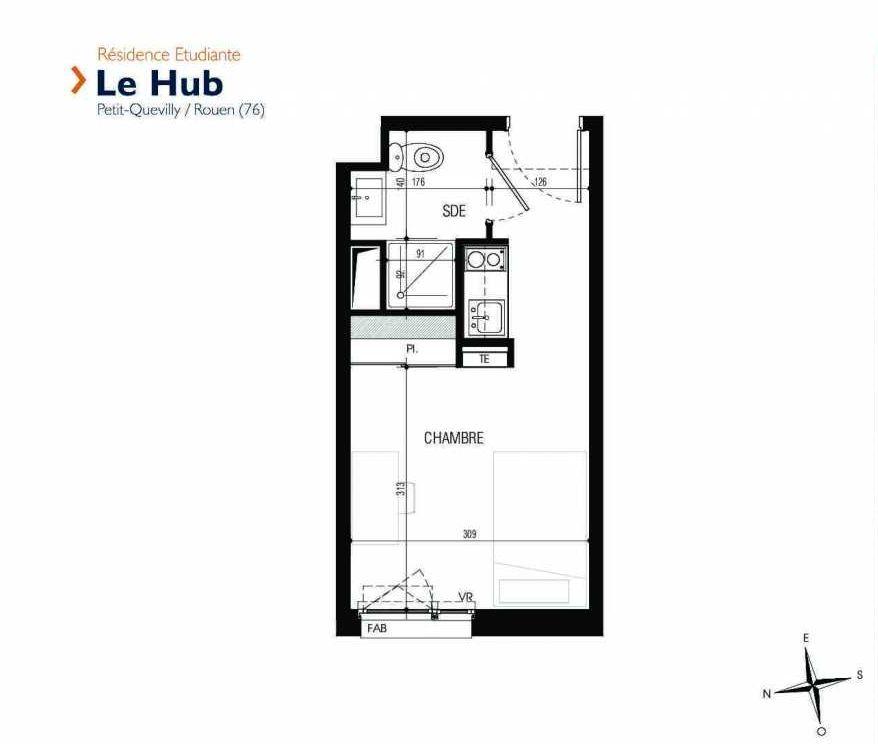 Plan 223, appartement neuf type T1 au 2ème étage, faisant 18m² du programme neuf Le Hub à Le Petit-Quevilly.